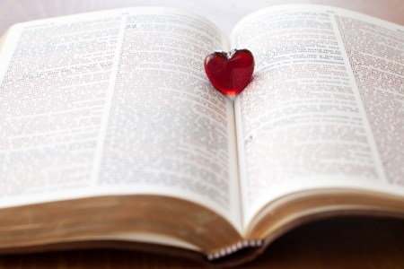 love words: Heart on a bible, love for God s Word