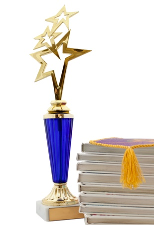 school award and books isolated on white