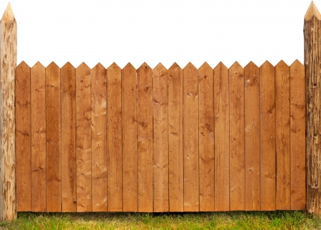 fence panel: wooden fence isolated on white