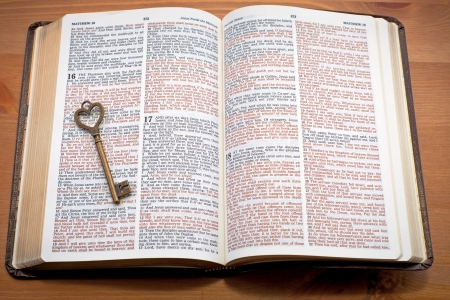 Keys to the Kingdom, key on the open bible photo