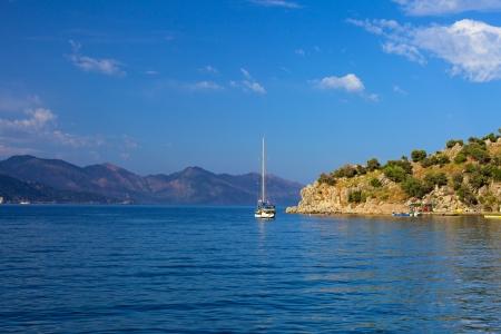 Turunc bay, Aegean sea and sail boat