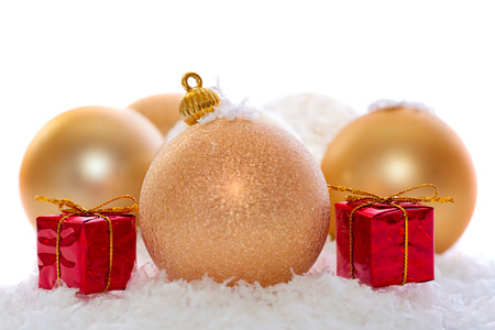 gold christmas decorations isolated on white