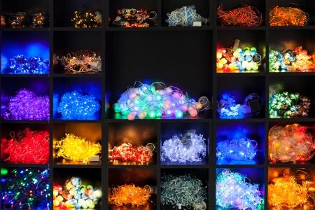 various christmas lights on display Stock Photo