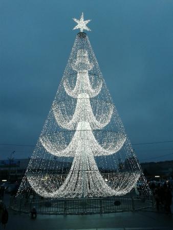 Christmas tree made of lights Moscow