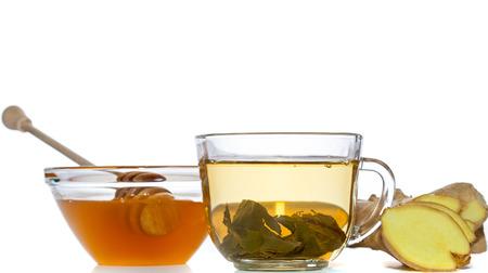green tea, ginger and honey over white