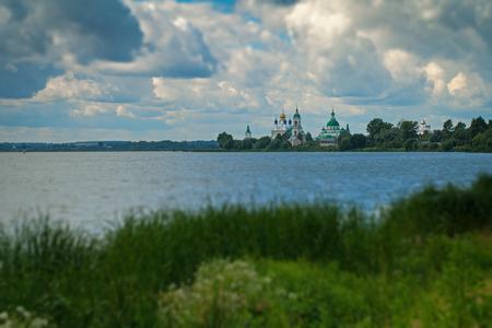 Spaso-Yakovlevsky Monastery on the lake Nero, blurred tilt shift effect Stock Photo