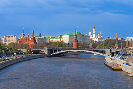 Moscow Kremlin landscape, spring time Stock Photo