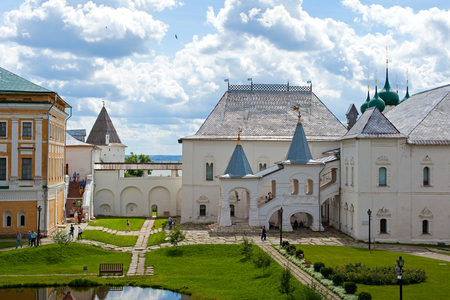 Courtyard of the Rostov Kremlin Stock Photo