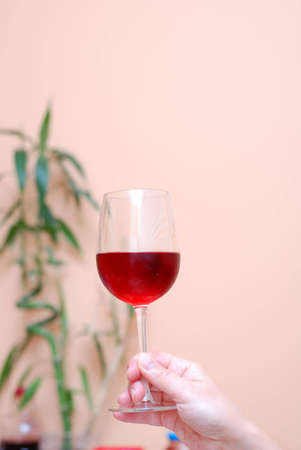 Picture of one hand holding a glass of wine photo