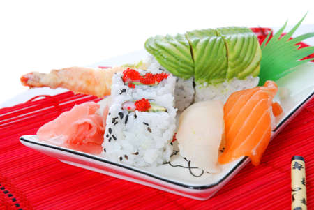 Set of rolls and sushi on several plates 版權商用圖片