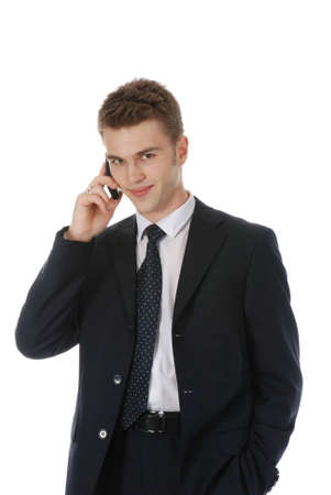 Young businessman calling over the phone isolated over white photo