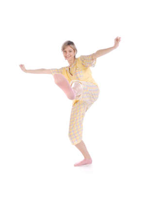 in pajama: One teenager practicing karate before going to bed! Stock Photo