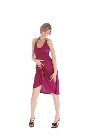 One girl seducing and raising her dress Stock Photo - 4536536