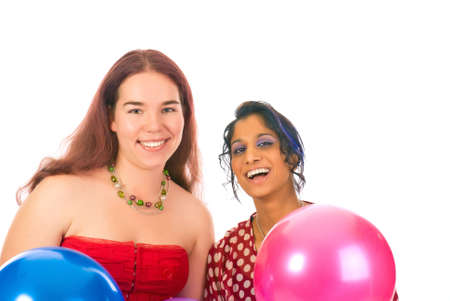 Two girls with baloons isolated over white photo