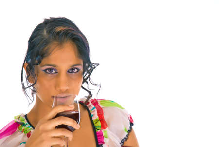 sensually: Picture of one girl drinking and looking sensually