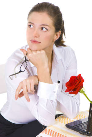 contemplative: Portrait of a contemplative business woman
