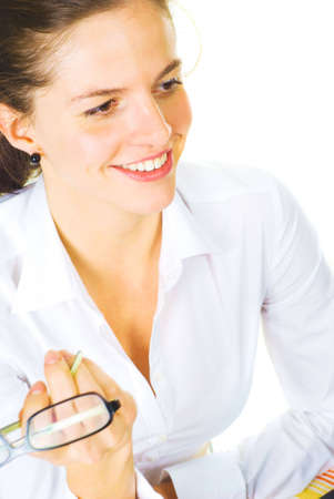 Cheerful business woman isolated over white photo