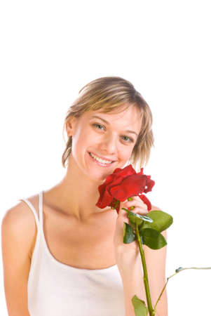 Adorable woman with flowers isolated over white photo