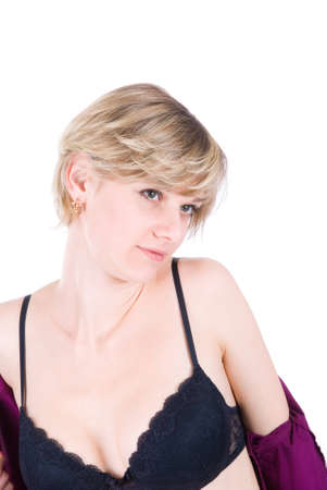 ライフ スタイルのセクシーな写真 - 若い金髪ストリップ白で分離されました。