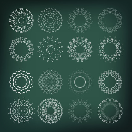 Set of flower shapes  16 elements for your design and decorations  Vector