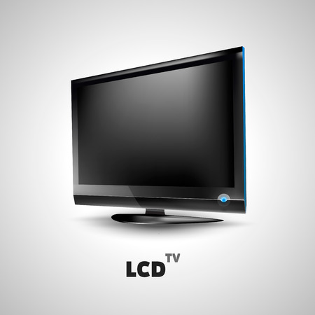 lcd: LCD TV on white backgound vector