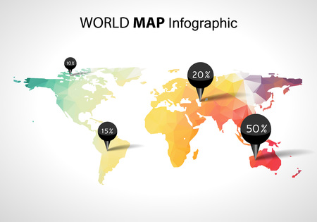 3d icons: Abstract world map with tags, points and destinations vector