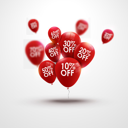 sales person: Trendy beautiful background with red baloons and discounts vector
