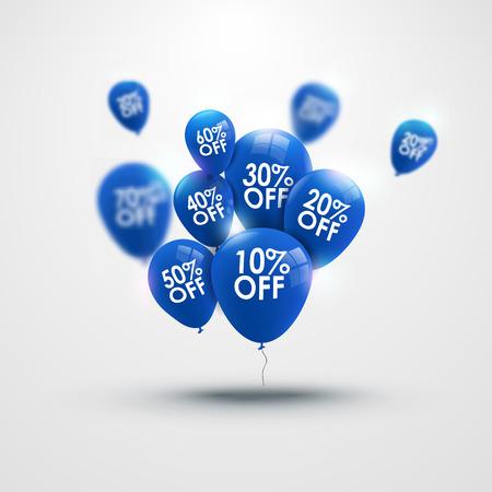 Fondo hermoso de moda con globos azules y descuentos vectorial