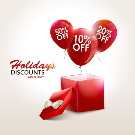 discount card: Balloons With Sale Discounts and with box. Holidays background vector