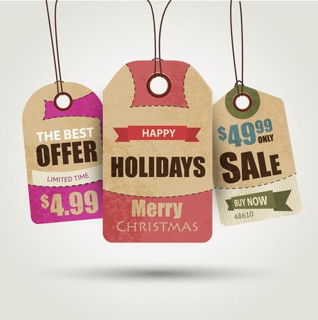 sale tags: Christmas sale tags vector illustration