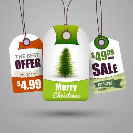 christmas sale: Christmas sale tags vector illustration