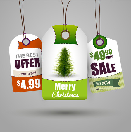Christmas sale tags vector illustration