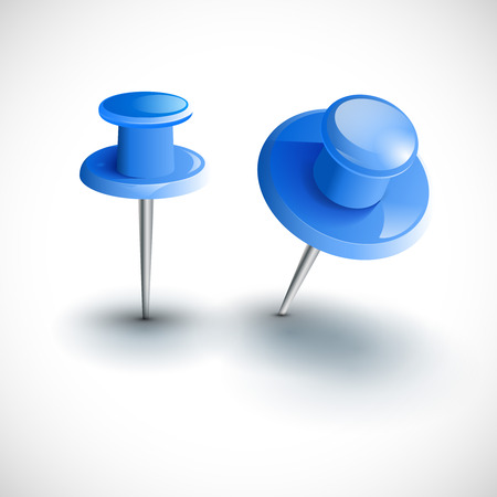 pushpins: Two blue pushpins isolated, vector illustration