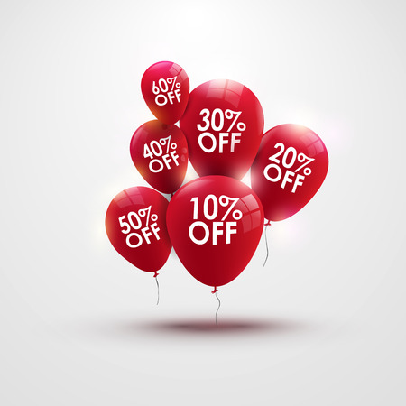 Discounts balloons with discount numbers vector Ilustrace