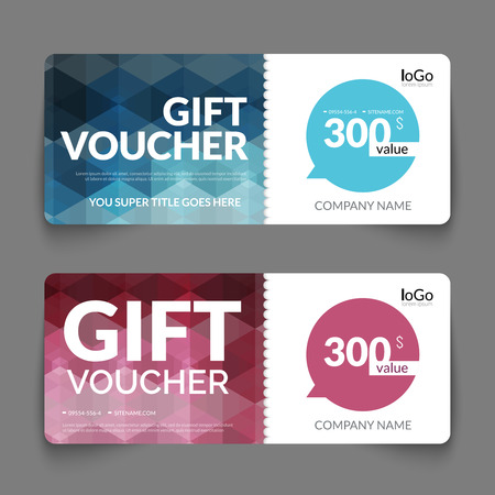 discount card: Gift voucher template with colorful and modern hexagonal design. Certificate coupon design template.