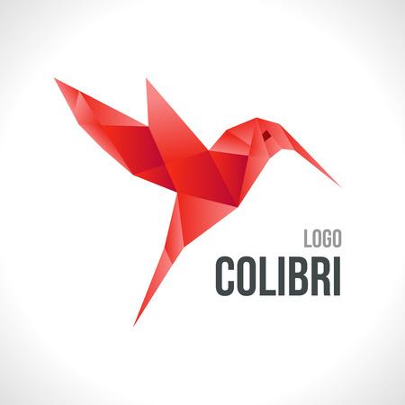 hummingbird: Triangle polygonal red colibri illustration logotype, icon.