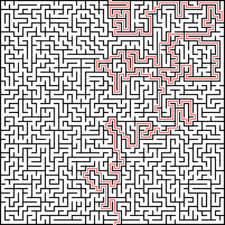Abstract vector maze of high complexity with solution. Ilustração