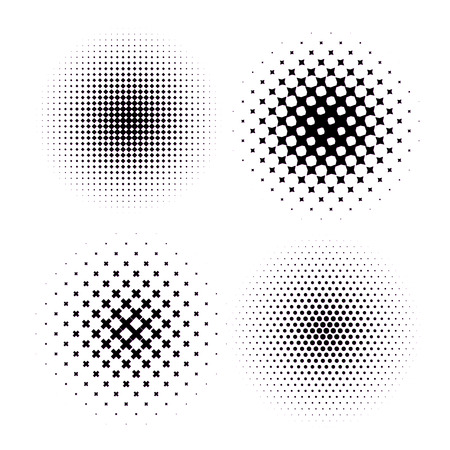 raster artistic: Set of four Abstract Halftone Backgrounds. Vector illustration. Illustration