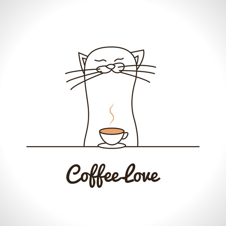 sniffing: Cute cat sniffing coffee cup. Adorable animal vector illustration Illustration