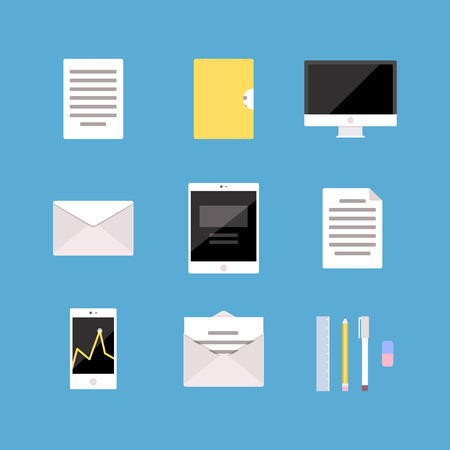 Set of Office and Business icons letter, tablet pc computer folder document mobile phone diagram, analytics. 일러스트
