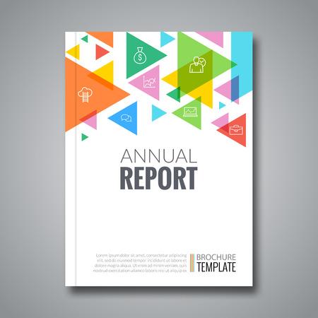 informe: informe de la cubierta colorido patrón geométrico triángulo de diseño de fondo, cargador de tapa plantilla de la cubierta de libro folleto, ilustración vectorial.