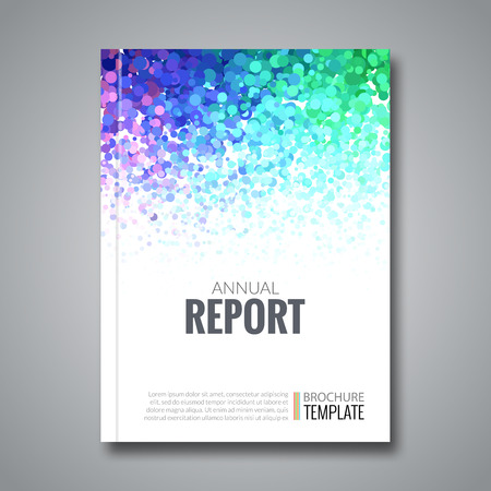 simulating: Business report design background with colorful dots, simulating watercolor. Dotwork Brochure Cover Magazine template, vector illustration. Illustration