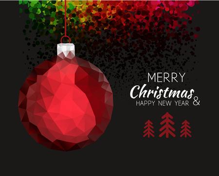 vacanza: Forma Buon Natale felice anno nuovo ornamento rosso palla a vita bassa stile origami. Per carta natale o invito elegante partito di festa. Illustrazione vettoriale.