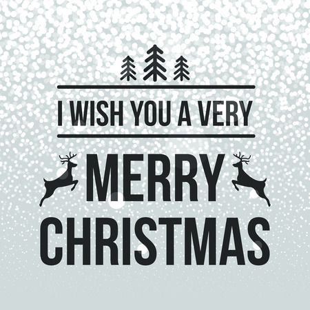 Merry Christmas retro design typography lettering greeting card with snowflakes and tree background. Happy New Year template. Vector illustration.