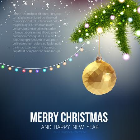 navidad elegante: Feliz Navidad Feliz A�o Nuevo forma de moda de Navidad de oro triangular pelota en el estilo de origami inconformista. Ideal para tarjetas de Navidad o invitaci�n elegante de la celebraci�n de d�as festivos.