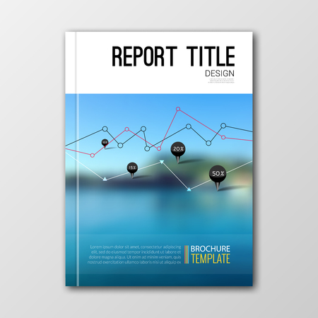 print design: Business templates for brochure, flyer, report or booklet. Abstract background of nature landscape water, vector illustration