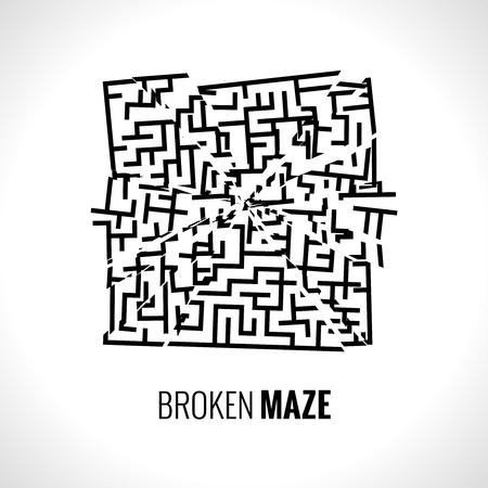 mental confusion: Broken maze illustration vector template.