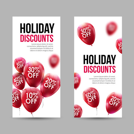 discount banner: Trendy Holiday Sale Discount Banners set with Red Baloons and discounts. Illustration