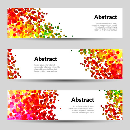 Set of Horizontal Vector Poster Banners Templates with Dots Watercolor simulation Paint Splash.  Ilustracja