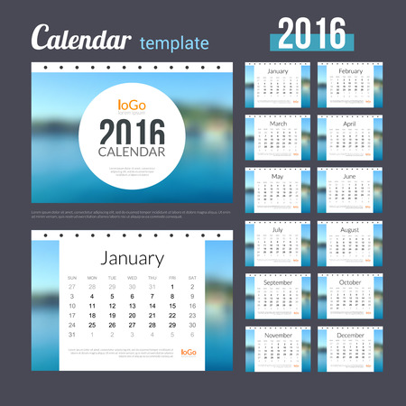 desk calendar: Desk Calendar 2016 Design Template with Nature Coast Water Background. Sunday Start. Set of 12 Months. vector illustration.